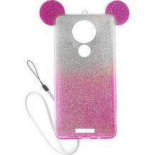Луксозен силиконов калъф / гръб / TPU 3D за Motorola Moto E5 - преливащ / розово и сребристо / брокат / миши ушички / 2в1
