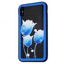 Луксозен стъклен твърд гръб със силиконов кант за Samsung Galaxy A7 2018 A750F  - сини лалета с камъни