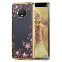 Луксозен силиконов калъф / гръб / TPU с камъни за Motorola Moto E5 Plus - прозрачен / розови цветя /златист кант