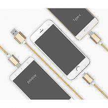 Универсален USB кабел Type-C 3в1 1.2М Micro USB / iPhone USB Data Cable - златист