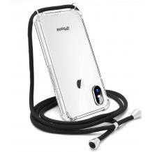 Удароустойчив силиконов калъф / гръб / TPU с връзка за Apple iPhone X / iPhone XS - прозрачен / черна връзка