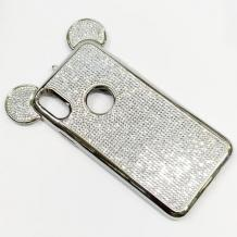 Луксозен твърд гръб 3D с камъни за Apple iPhone X / iPhone XS - сребрист / миши ушички