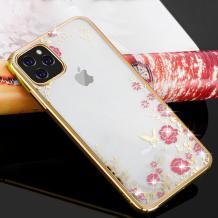 """Луксозен силиконов калъф / гръб / TPU с камъни за Apple iPhone 11 Pro Max 6.5"""" - прозрачен / розови цветя / златист кант"""