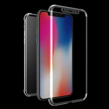 Tвърд гръб 360° със силиконова част и протектор за Samsung Galaxy A70 - прозрачен
