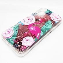 Луксозен твърд гръб 3D Water Case за Apple iPhone XR - прозрачен / розов брокат / фламинго