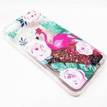 Луксозен твърд гръб 3D Water Case за Apple iPhone 7 / iPhone 8 - прозрачен / розов брокат / фламинго
