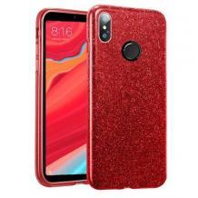 Силиконов калъф / гръб / TPU за Huawei Y7 2019 - червен / брокат