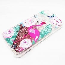 Луксозен твърд гръб 3D Water Case за Apple iPhone 7 Plus / iPhone 8 Plus - прозрачен / розов брокат / фламинго