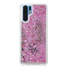 Луксозен твърд гръб 3D Water Case за Samsung Galaxy Note 10 N975 - прозрачен / течен гръб с розов брокат
