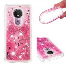 Луксозен твърд гръб 3D Water Case за Motorola Moto G7 Power - прозрачен / течен гръб с брокат / сърца / розов