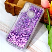Луксозен твърд гръб 3D Water Case за Huawei P30 Lite - прозрачен / течен гръб с брокат / сърца / лилав