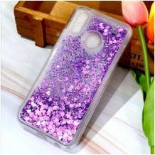 Луксозен твърд гръб 3D Water Case за Samsung Galaxy A11 - прозрачен / течен гръб с брокат / сърца / лилав