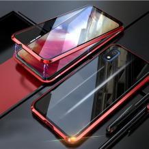 Магнитен калъф Bumper Case 360° FULL за Samsung Galaxy A10/M10 - прозрачен / червена рамка