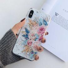Луксозен силиконов калъф / гръб / TPU за Apple iPhone XS Max - Божури / блестящи частици