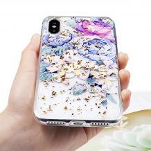 Луксозен силиконов калъф / гръб / TPU за Apple iPhone XS Max - Далия / блестящи частици