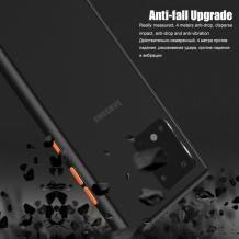 Луксозен твърд гръб със силиконов кант за Samsung Galaxy A71 – прозрачен мат / черен кант