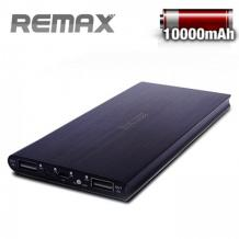 Външна батерия Power Bank REMAX 10000mAh за Samsung, Apple, LG, HTC, Sony, Nokia, BlackBerry, Huawei и др. - черна / два USB порта + mini USB порт