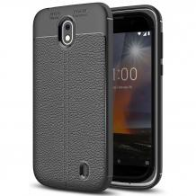 Луксозен силиконов калъф / гръб / TPU за Nokia 1 Plus - черен / имитиращ кожа
