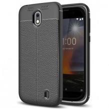 Луксозен силиконов калъф / гръб / TPU за Nokia 3.2 - черен / имитиращ кожа