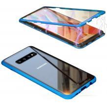 Магнитен калъф Bumper Case 360° FULL за Samsung Galaxy S10 Lite / S10e - прозрачен / синя рамка