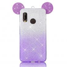 Луксозен силиконов калъф / гръб / TPU 3D за Xiaomi Mi A2 / Mi 6X - преливащ / лилаво и сиво / брокат / миши ушички / 2в1