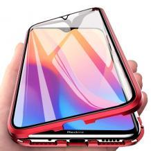 Магнитен калъф Bumper Case 360° FULL за Xiaomi Redmi Note 7 - прозрачен / червена рамка