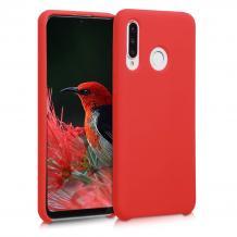 Луксозен силиконов гръб Silicone Case за Huawei P30 Lite - червен