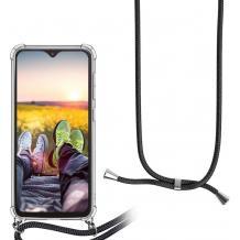 Удароустойчив силиконов калъф / гръб / TPU с връзка за Huawei P20 Lite - прозрачен / черна връзка
