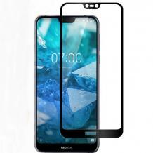4D EQUIPTORS full cover Tempered glass Full Glue screen protector Nokia 7.1 2018 / Извит стъклен скрийн протектор с лепило от вътрешната страна за Nokia 7.1 2018 - черен