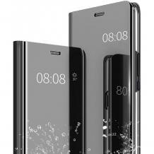 Луксозен калъф Clear View Cover с твърд гръб за Xiaomi Redmi Note 9 - черен