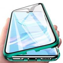 Магнитен калъф Bumper Case 360° FULL за Xiaomi Mi Note 10 - прозрачен / зелена рамка