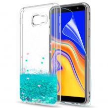 Луксозен твърд гръб 3D Water Case за Samsung Galaxy J4 Plus 2018 - прозрачен / течен гръб с брокат / тюркоаз