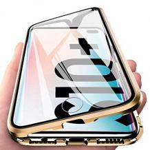 Магнитен калъф Bumper Case 360° FULL за Samsung Galaxy Note 10 Plus N975 - прозрачен / златиста рамка