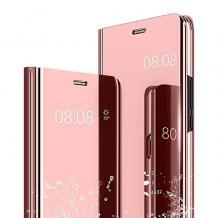 Луксозен калъф Clear View Cover с твърд гръб за Samsung Galaxy A21s - Rose Gold
