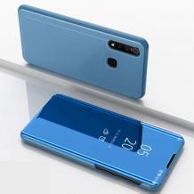Луксозен калъф Clear View Cover с твърд гръб за Samsung Galaxy A20s - син