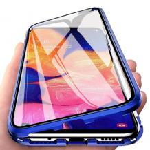 Магнитен калъф Bumper Case 360° FULL за Samsung Galaxy A10/M10 - прозрачен / синя рамка