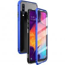 Магнитен калъф Bumper Case 360° FULL за Samsung Galaxy A50 / A50S / A30S - прозрачен / синя рамка