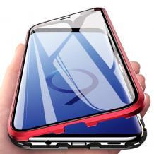 Магнитен калъф Bumper Case 360° FULL за Samsung Galaxy S9 Plus G965 - прозрачен / червена рамка