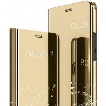 Луксозен калъф Clear View Cover с твърд гръб за Samsung Galaxy A20s - златист