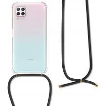 Удароустойчив силиконов калъф / гръб / TPU с връзка за Huawei P40 Lite - прозрачен / черна връзка