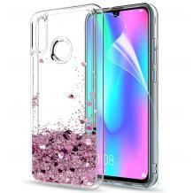Луксозен твърд гръб 3D Water Case за Xiaomi Redmi S2 - прозрачен / течен гръб със светло розов брокат