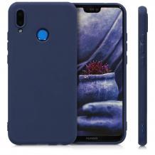 Силиконов калъф / гръб / TPU за Motorola One Vision - тъмно син / мат