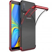 Луксозен силиконов калъф / гръб / TPU за Samsung Galaxy A10 - прозрачен / червен кант