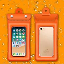 Универсален водоустойчив калъф Waterproof Case за мобилен телефон 6'' - оранжев