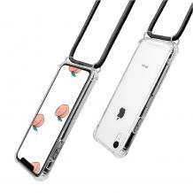 Удароустойчив силиконов калъф / гръб / TPU с връзка за Apple iPhone XR - прозрачен / черна връзка