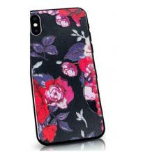 Твърд гръб със силиконов кант за Huawei P40 lite - черен / Red Roses