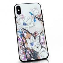 Твърд гръб със силиконов кант за Huawei P40 lite - бял / Flowers