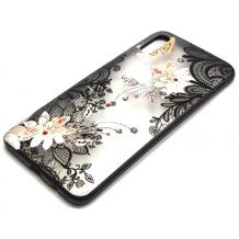 Луксозен твърд гръб BEAUTY с камъни за Samsung Galaxy Note 10 N975 - прозрачен / черен кант / цветя