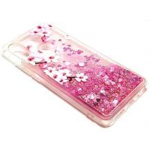 Луксозен твърд гръб 3D Water Case за Xiaomi Redmi Note 5 / Note 5 Pro - прозрачен / розов брокат / цветя