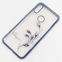 Луксозен силиконов калъф / гръб / TPU / Elegant с камъни за Huawei Y7 2019 - прозрачен със син кант / перо